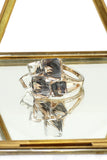 noble color square crystal golden ring