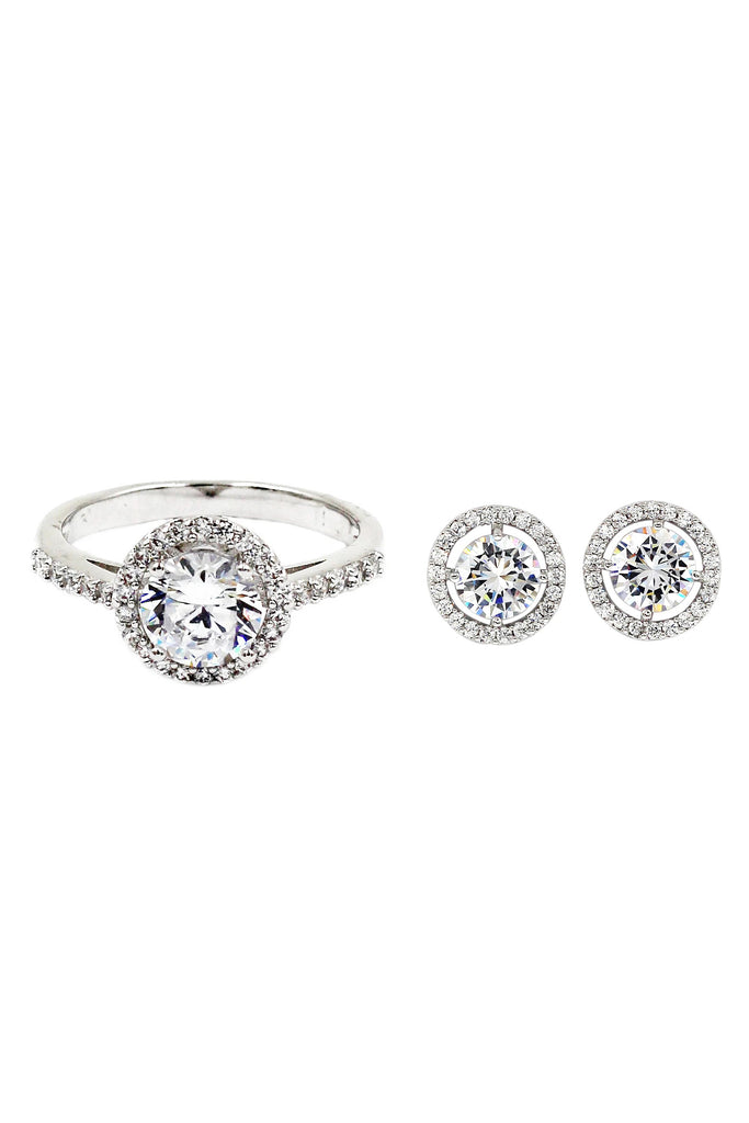 Simple crystal ring earring set