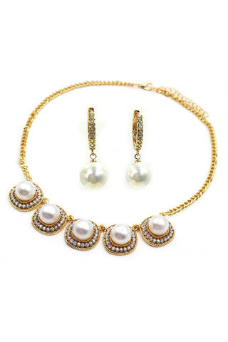 mini bow earrings pearl necklace set