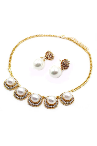 double chain pearl necklace earring set