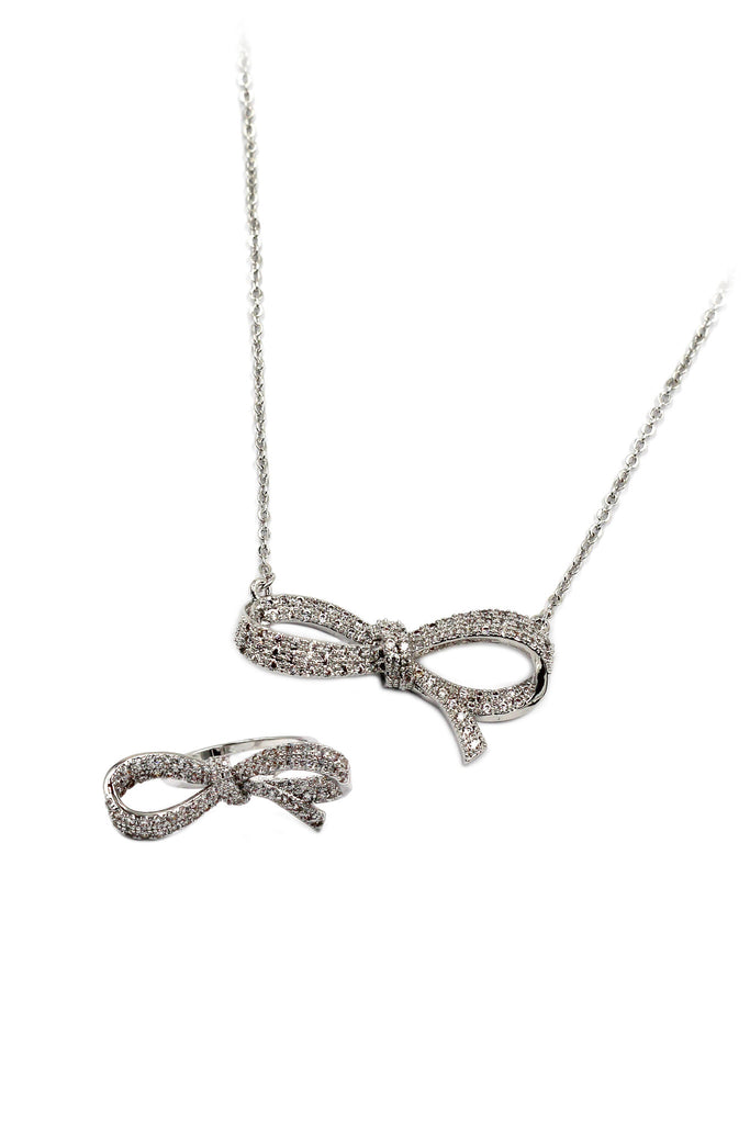 fashion crystal ribbon knot silver necklace rings set