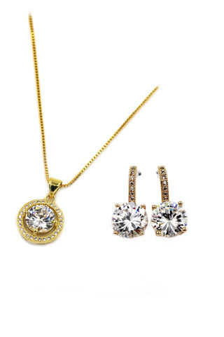 fashion wild crystal earrings necklace set