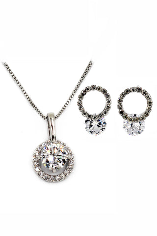 small crystal fine chain necklace earrings set