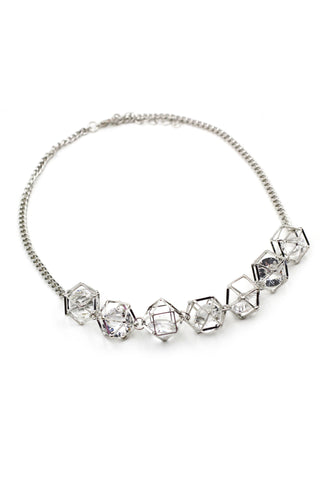 Fine fashion silver crystal necklace