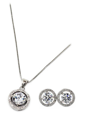 fashion simple crystal earrings necklace set