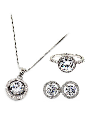 small square crystal ring necklace set