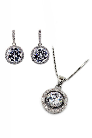 elegant sparkling crystal silver necklace earrings set
