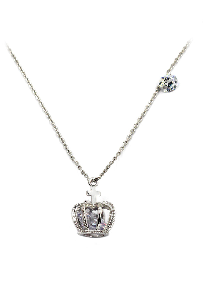mini crown and pendant crystal necklace earrings silver set