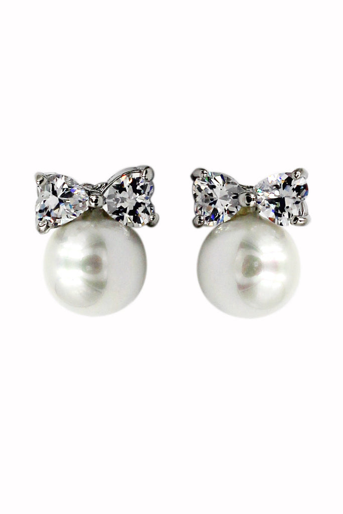 lovely pearl and bow-knot crystal earrings