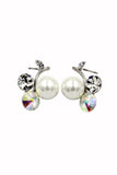 lovely pearl and crystal silver earrings