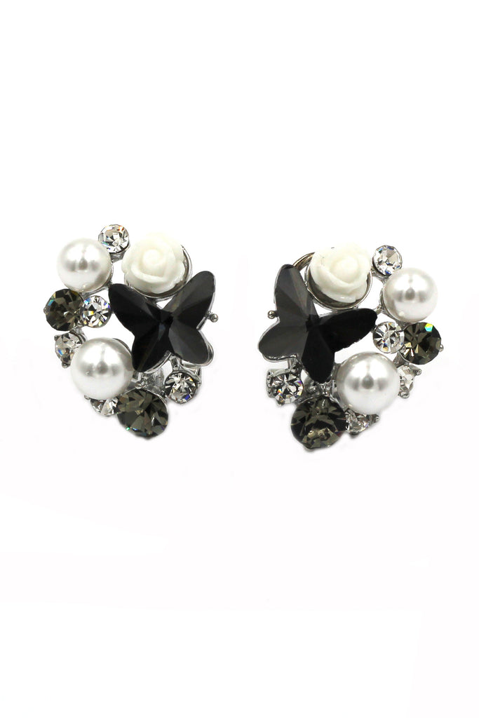 lovely black butterfly and flower pearl earrings