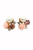 lovable colorful flower crystal pearl earrings