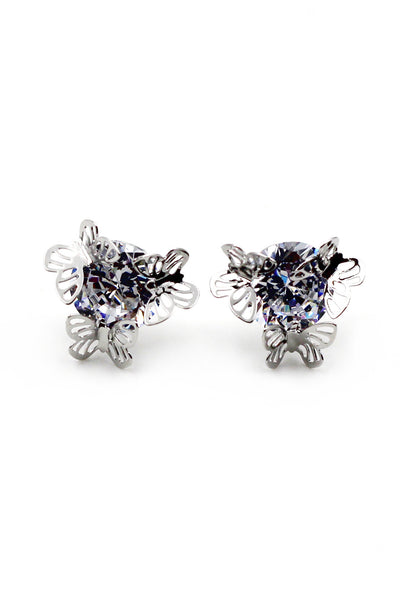 Sweet butterfly silver crystal earrings