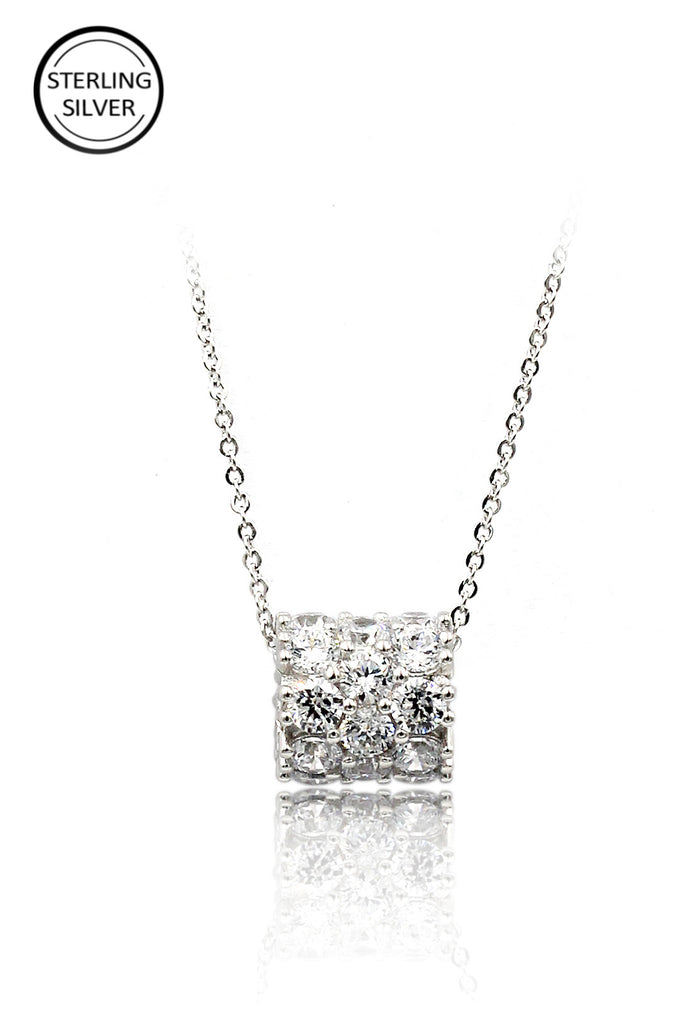 crystal conveyor bead pendant sterling silver necklace