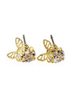 golden butterfly crystal bangle earrings set
