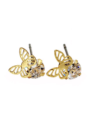small flower piece crystal rose gold earrings