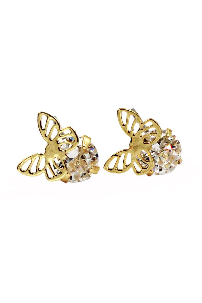 mini butterfly and crystal earrings set