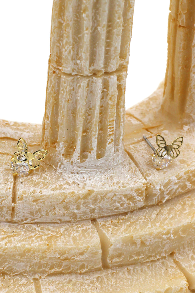 mini single golden butterfly and crystal earrings