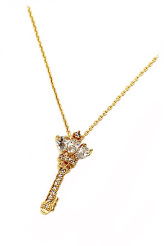 mushroom crystal key gold necklace