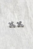 silver mini cross crystal earrings