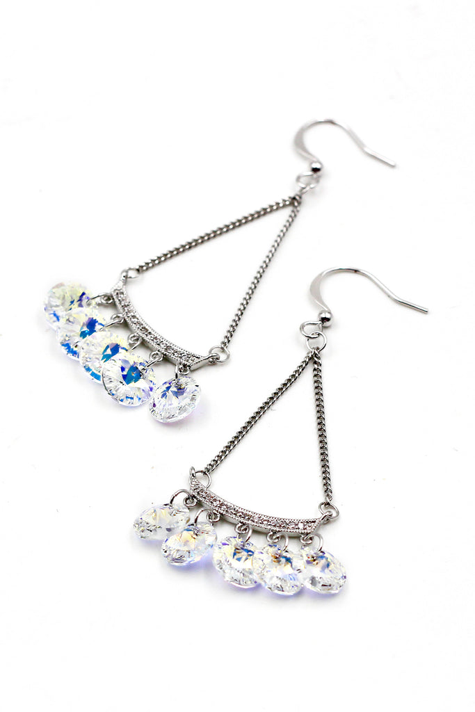 Sector silver crystal earrings