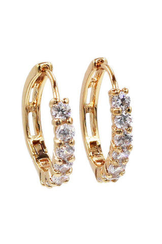 lovely crystal golden rim earrings