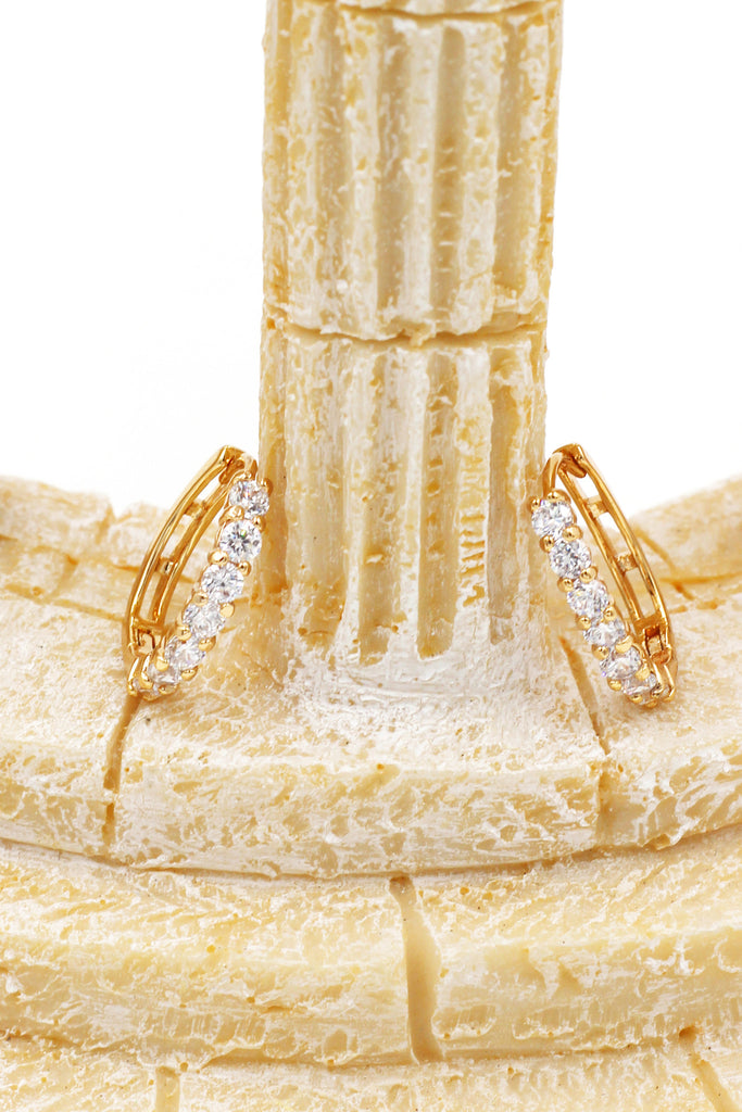 noble golden ring small crystal earrings