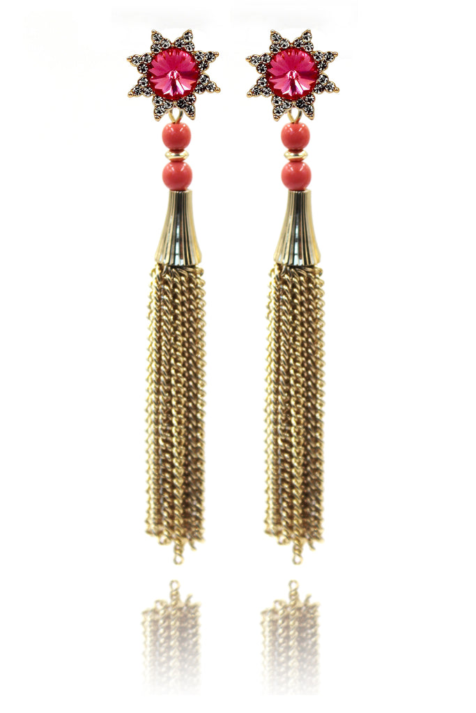 cabinet crystal sun tassel earrings