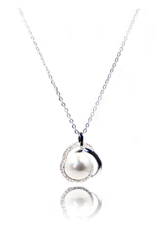 mini circle crystal clavicle silver necklace