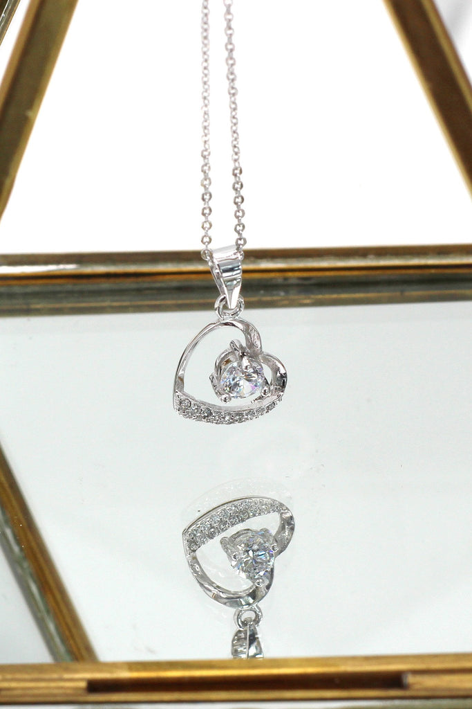 love heart crystal earring necklace set