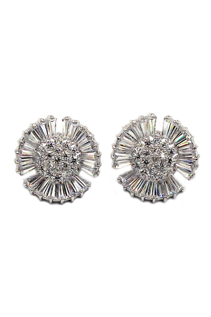 shiny circle crystal earrings