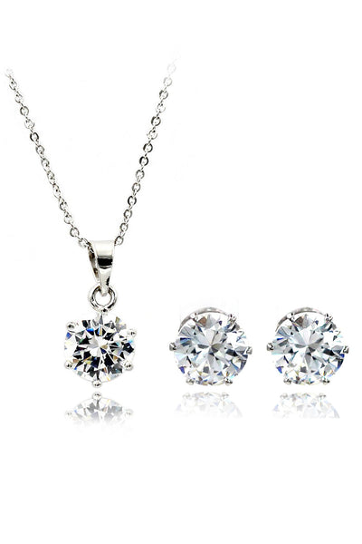 simple crystal earring necklace set