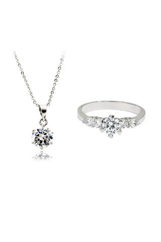 small single crystal silver necklace earrings set