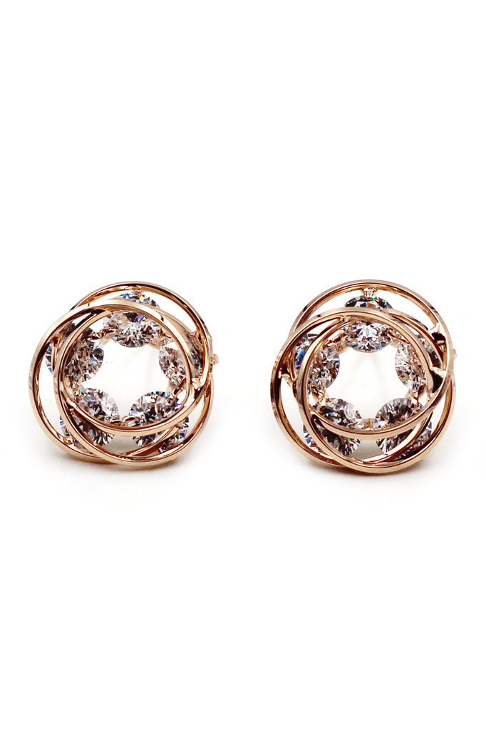 Fashion Round Gold Crystal Earrings