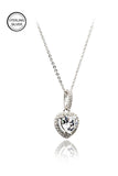 lovely peach heart crystal sterling silver necklace