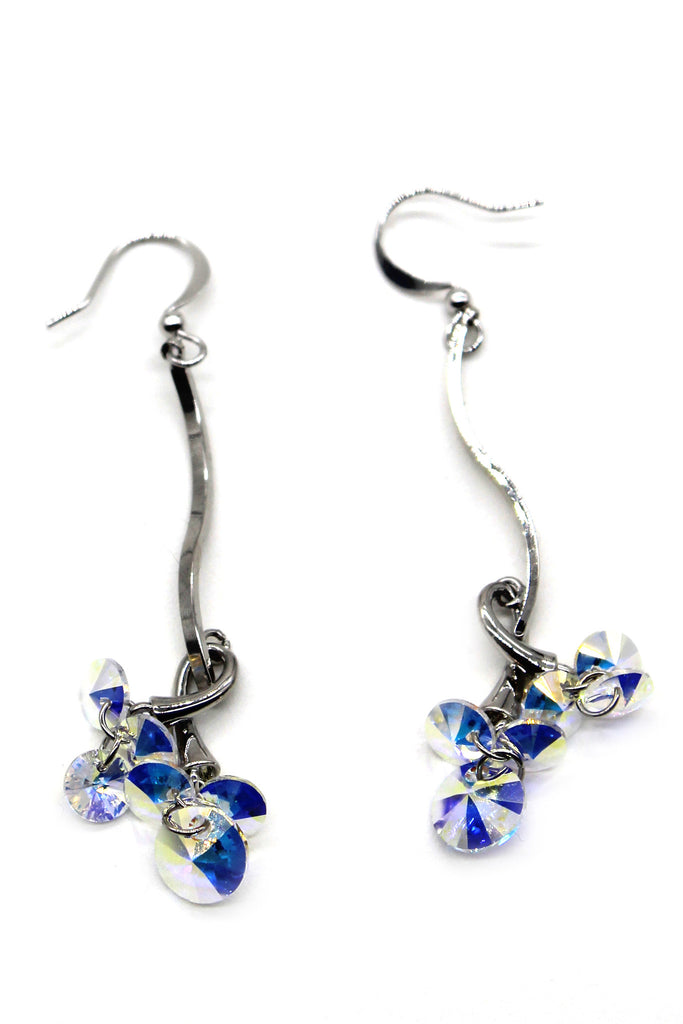 lovely silver line swarovski crystal earrings