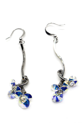 Flowers shiny silver crystal earrings
