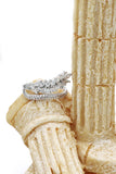 fashion small crystal tassel silver ring