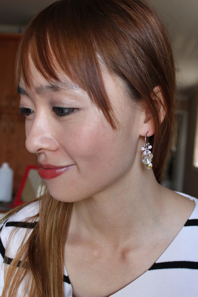 sweety swarovski crystal silver flower earrings