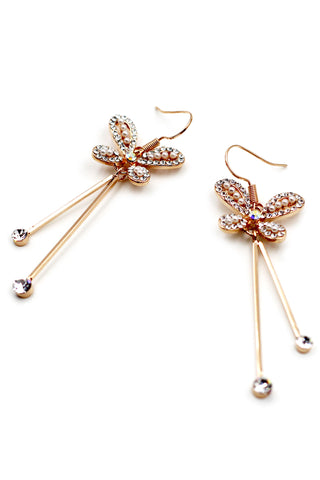 Simple flowers crystal earrings