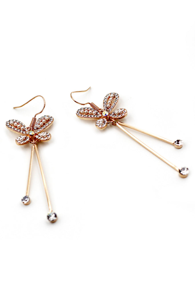 lovely butterfly crystal earrings