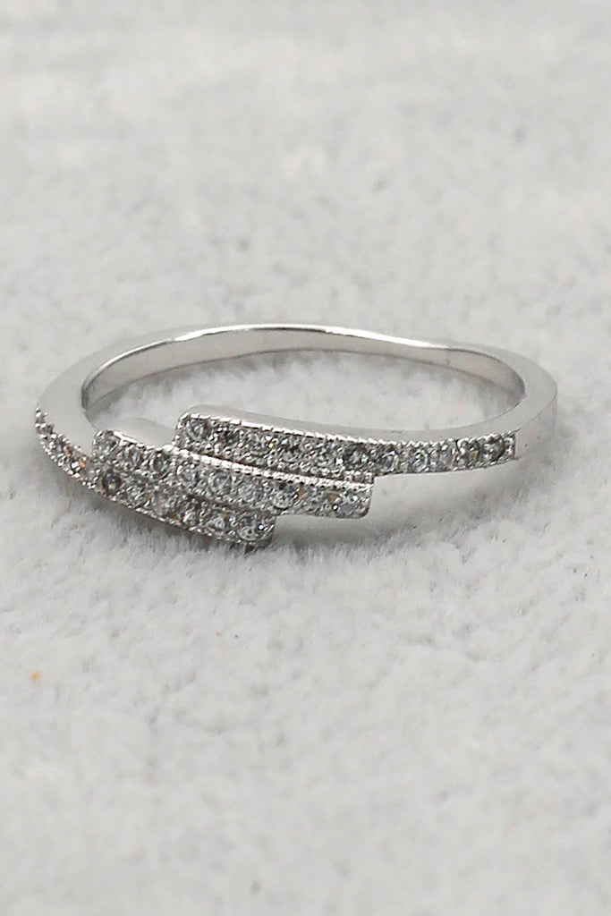 fashion inlay small crystal overlapping ring