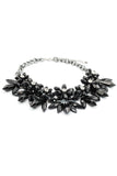 elegant black crystal flower necklace