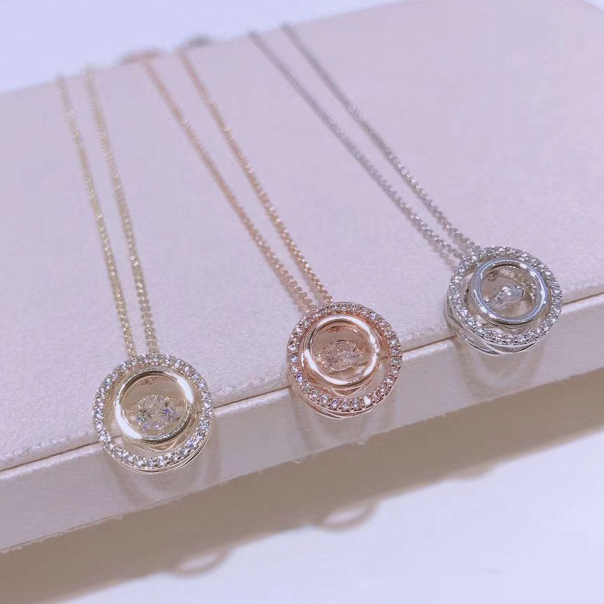 double ring clavicle crystal necklace