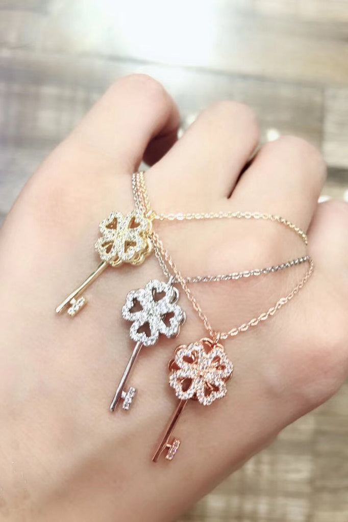 four-leaf clover crystal key necklace