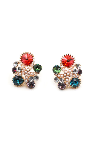 stylish crystal oval and flower earrings