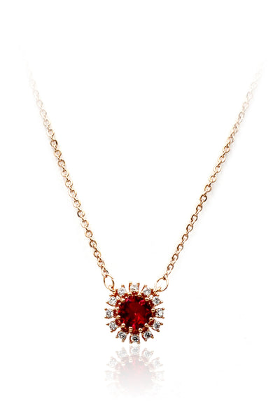 simple red sun crystal necklace