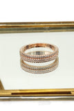 fashion rose gold mosaic small crystal ring