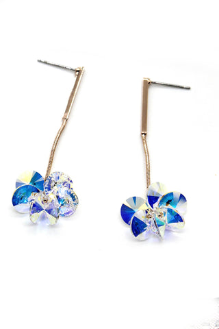 classical blue crystal pearl earrings