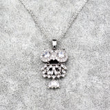 silver owl crystal necklace
